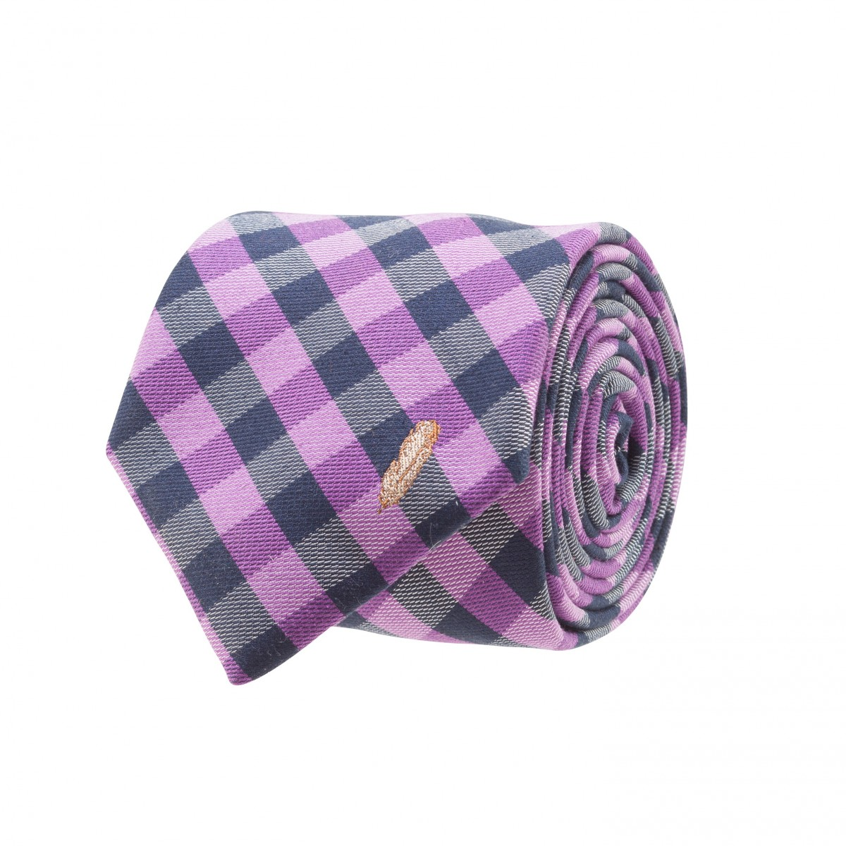 Feather Check Tie: Purple